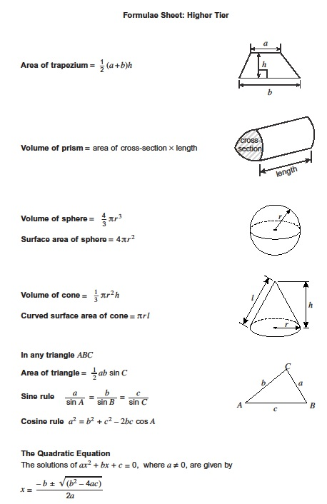 Exam Formula Sheets - Revision Maths